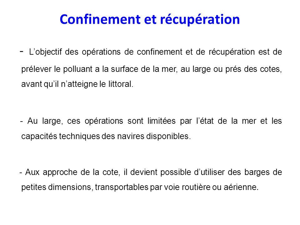 Confinement et récupération - Lobjectif des opérations de confinement et de récupération est de prélever le polluant a la surface de la mer, au large
