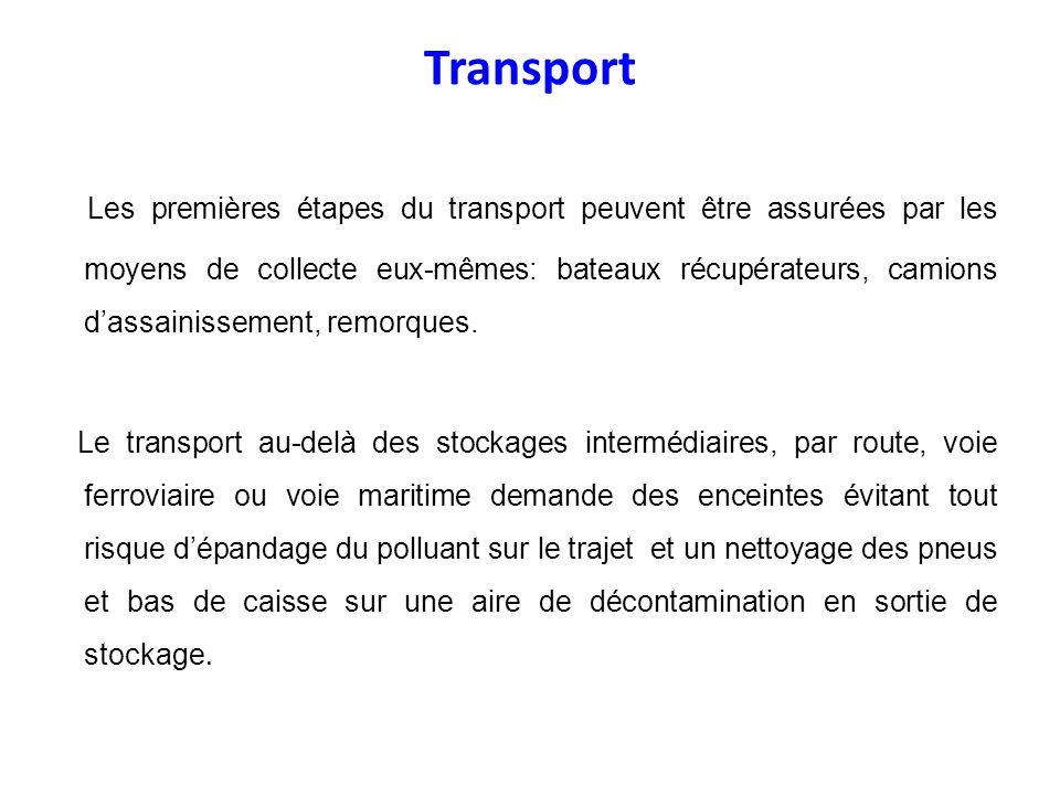 Transport Les premières étapes du transport peuvent être assurées par les moyens de collecte eux-mêmes: bateaux récupérateurs, camions dassainissement
