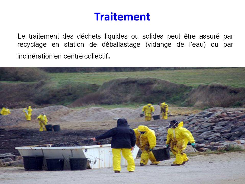 Traitement Le traitement des déchets liquides ou solides peut être assuré par recyclage en station de déballastage (vidange de leau) ou par incinérati