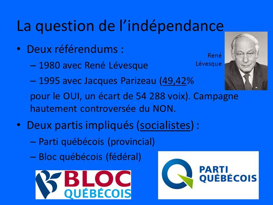 La question de lindépendance Deux référendums : – 1980 avec René Lévesque – 1995 avec Jacques Parizeau (49,42% pour le OUI, un écart de 54 288 voix).