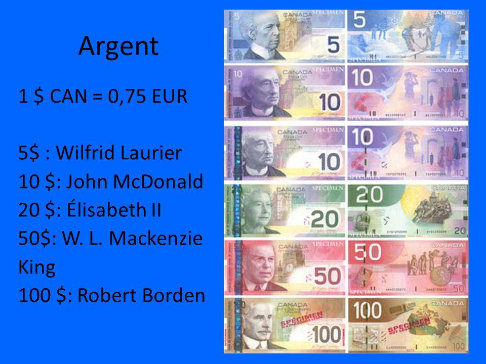 Argent 1 $ CAN = 0,75 EUR 5$ : Wilfrid Laurier 10 $: John McDonald 20 $: Élisabeth II 50$: W. L. Mackenzie King 100 $: Robert Borden