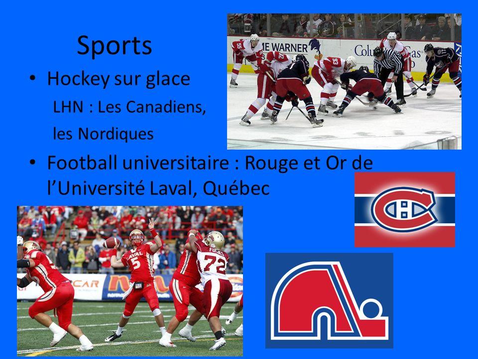 Sports Hockey sur glace LHN : Les Canadiens, les Nordiques Football universitaire : Rouge et Or de lUniversité Laval, Québec