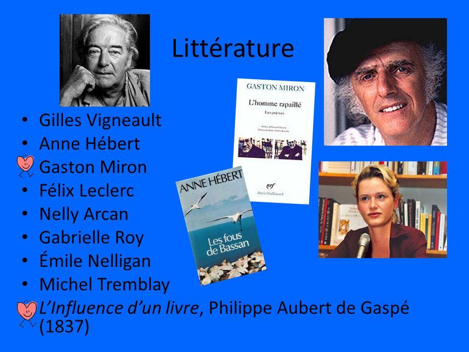 Littérature Gilles Vigneault Anne Hébert Gaston Miron Félix Leclerc Nelly Arcan Gabrielle Roy Émile Nelligan Michel Tremblay LInfluence dun livre, Phi