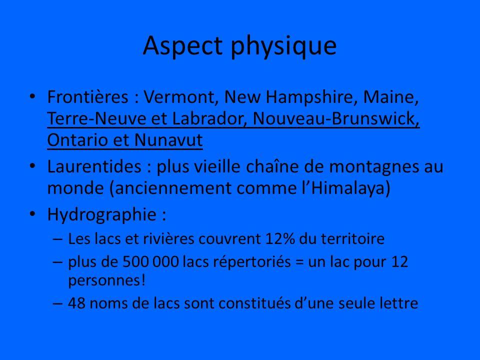 Aspect physique Frontières : Vermont, New Hampshire, Maine, Terre-Neuve et Labrador, Nouveau-Brunswick, Ontario et Nunavut Laurentides : plus vieille