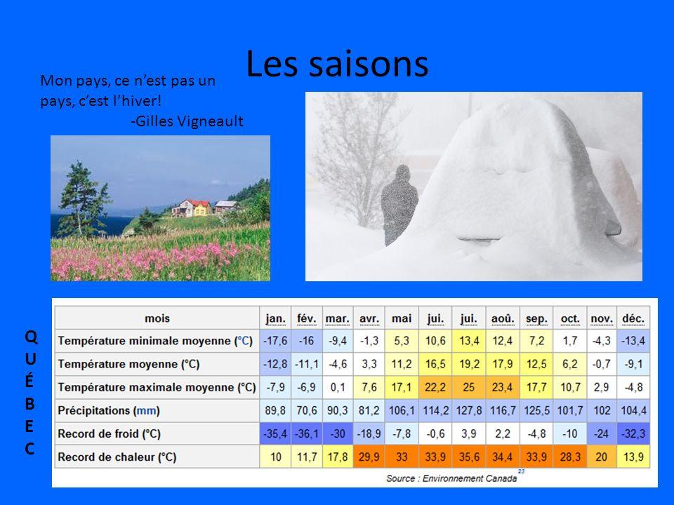 Les saisons Mon pays, ce nest pas un pays, cest lhiver! -Gilles Vigneault QUÉBECQUÉBEC