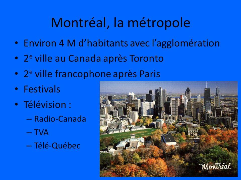 Montréal, la métropole Environ 4 M dhabitants avec lagglomération 2 e ville au Canada après Toronto 2 e ville francophone après Paris Festivals Télévi