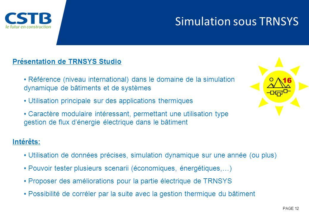 Simulation sous TRNSYS Intérêts: Utilisation de données précises, simulation dynamique sur une année (ou plus) Pouvoir tester plusieurs scenarii (écon