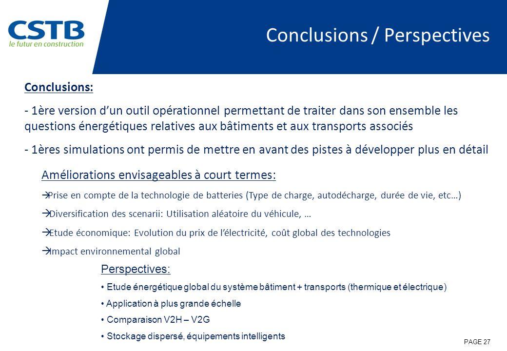 Conclusions / Perspectives Améliorations envisageables à court termes: Prise en compte de la technologie de batteries (Type de charge, autodécharge, d