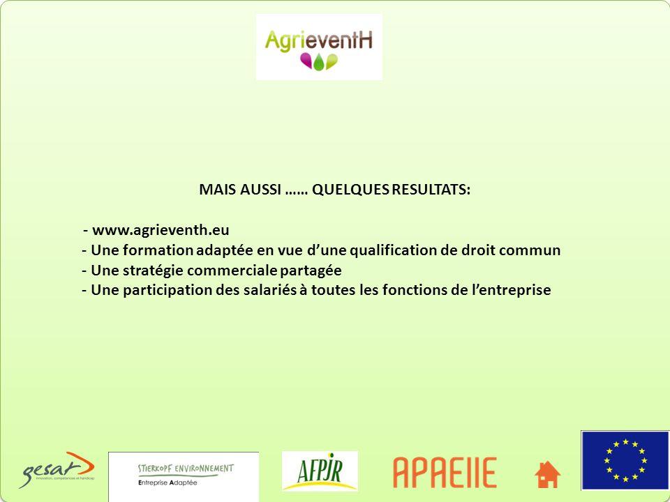 MAIS AUSSI …… QUELQUES RESULTATS: - www.agrieventh.eu - Une formation adaptée en vue dune qualification de droit commun - Une stratégie commerciale pa