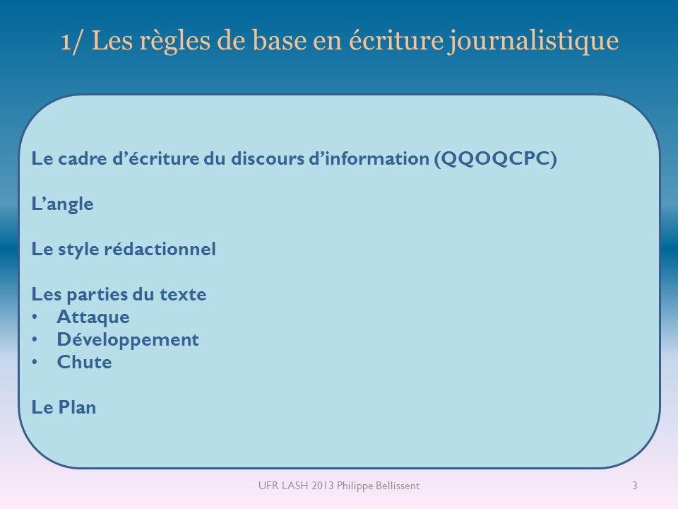 1/ Les règles de base en écriture journalistique Le cadre décriture du discours dinformation (QQOQCPC) Langle Le style rédactionnel Les parties du tex