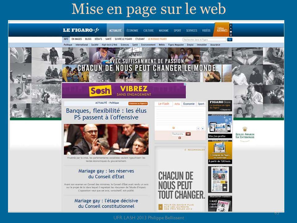Mise en page sur le web 63 UFR LASH 2013 Philippe Bellissent