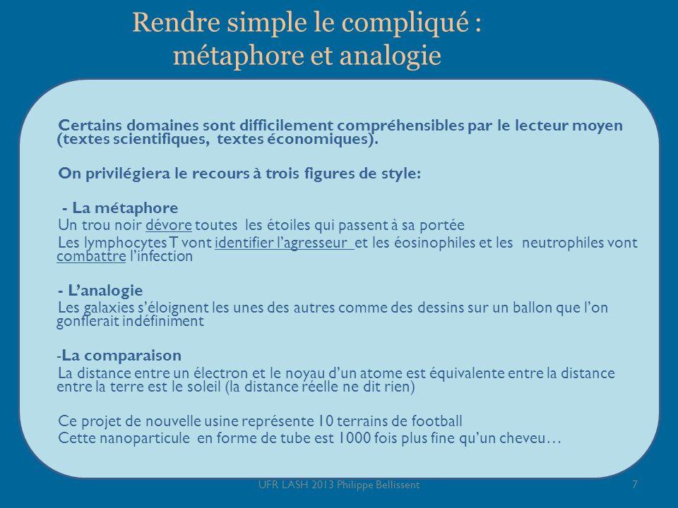 Rendre simple le compliqué : métaphore et analogie Certains domaines sont difficilement compréhensibles par le lecteur moyen (textes scientifiques, te