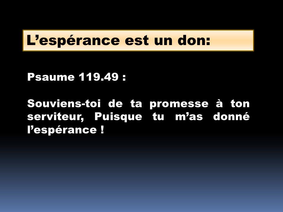 Lespérance est un don: Psaume 119.49 : Souviens-toi de ta promesse à ton serviteur, Puisque tu mas donné lespérance !