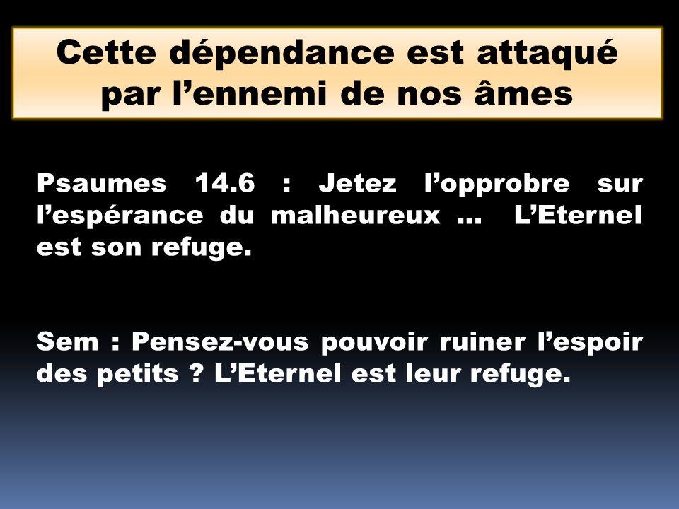 Psaumes 14.6 : Jetez lopprobre sur lespérance du malheureux … LEternel est son refuge. Sem : Pensez-vous pouvoir ruiner lespoir des petits ? LEternel
