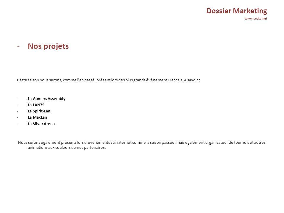 Dossier Marketing www.codtv.net -Nos prestations publicitaires Sur Internet : - Publicité sur les canaux IRC (entre 150 et 300 connectés Français et Anglais).