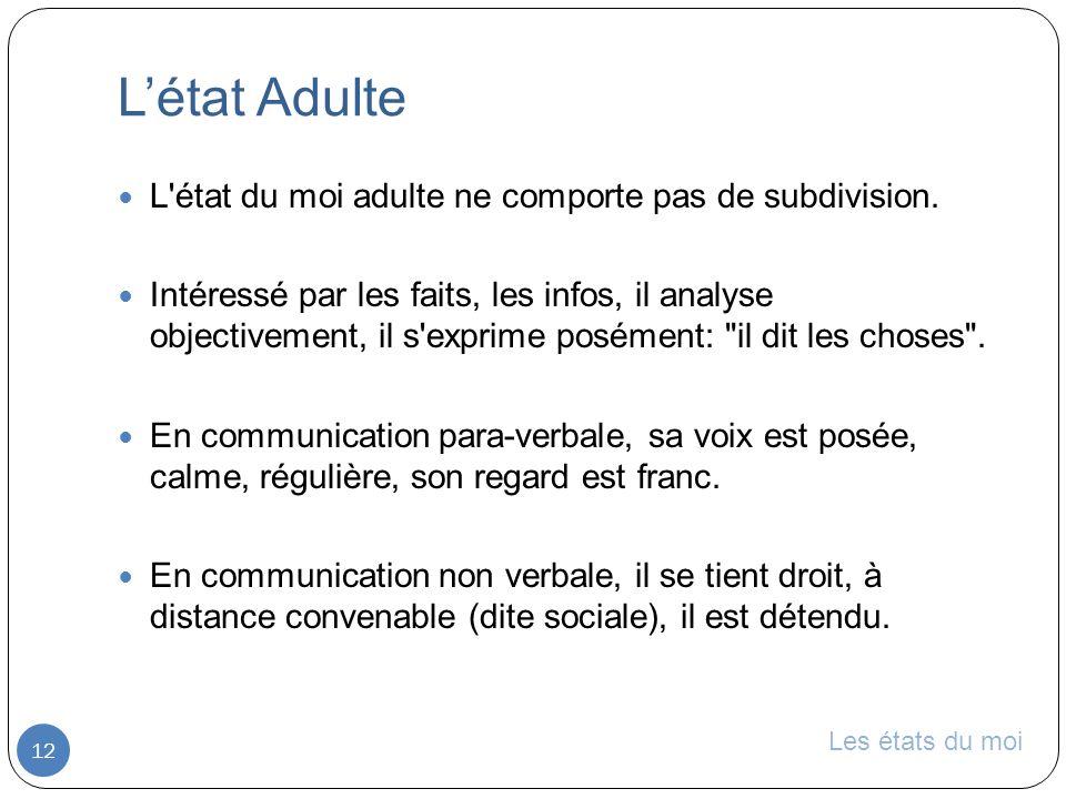 Les états du moi Létat Adulte 12 L état du moi adulte ne comporte pas de subdivision.