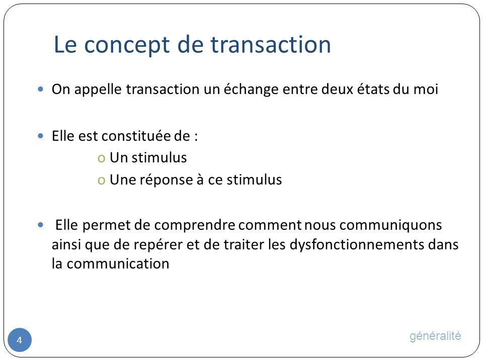 Le concept de transaction 4 On appelle transaction un échange entre deux états du moi Elle est constituée de : oUn stimulus oUne réponse à ce stimulus Elle permet de comprendre comment nous communiquons ainsi que de repérer et de traiter les dysfonctionnements dans la communication généralité