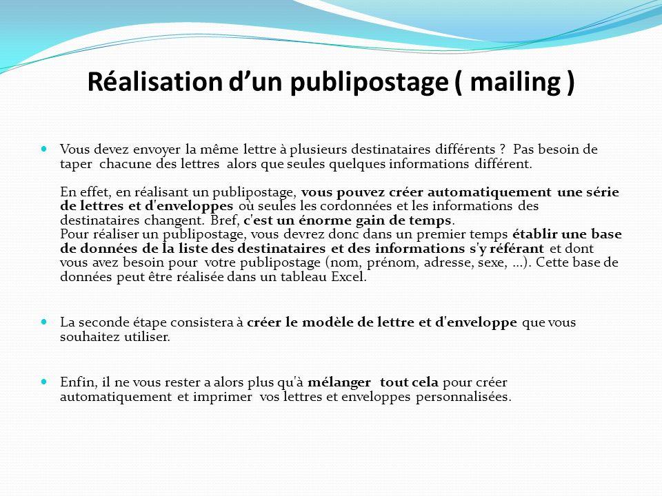 Réalisation dun publipostage ( mailing ) Vous devez envoyer la même lettre à plusieurs destinataires différents ? Pas besoin de taper chacune des lett