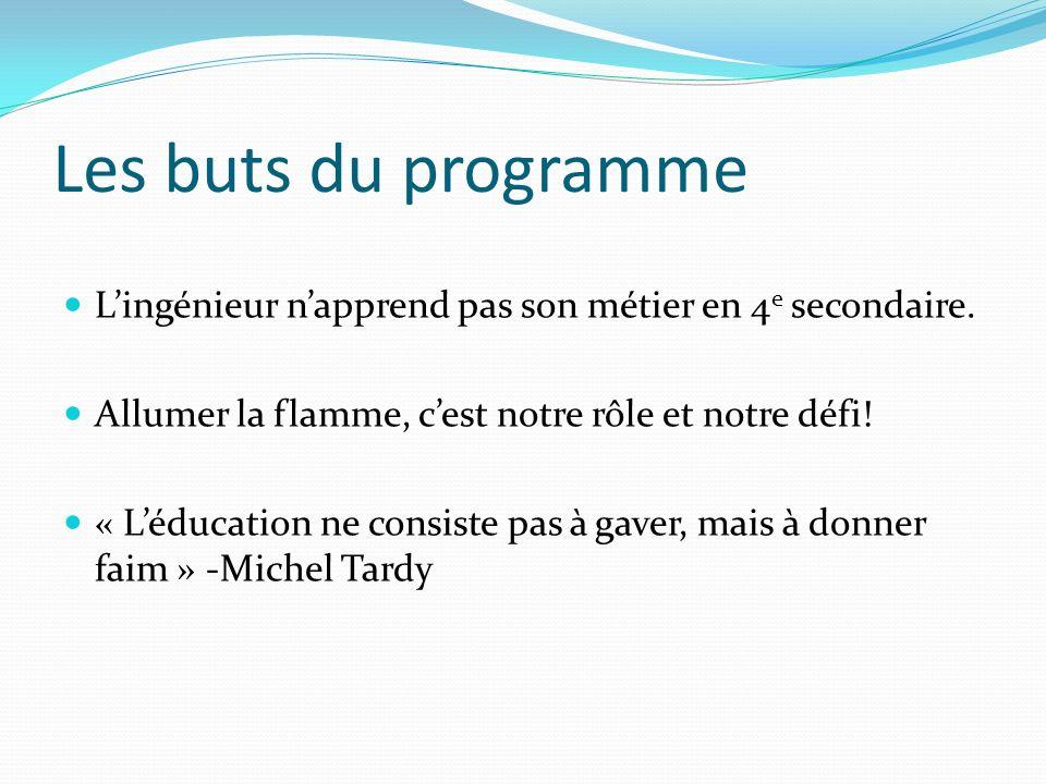 Les buts du programme Lingénieur napprend pas son métier en 4 e secondaire.