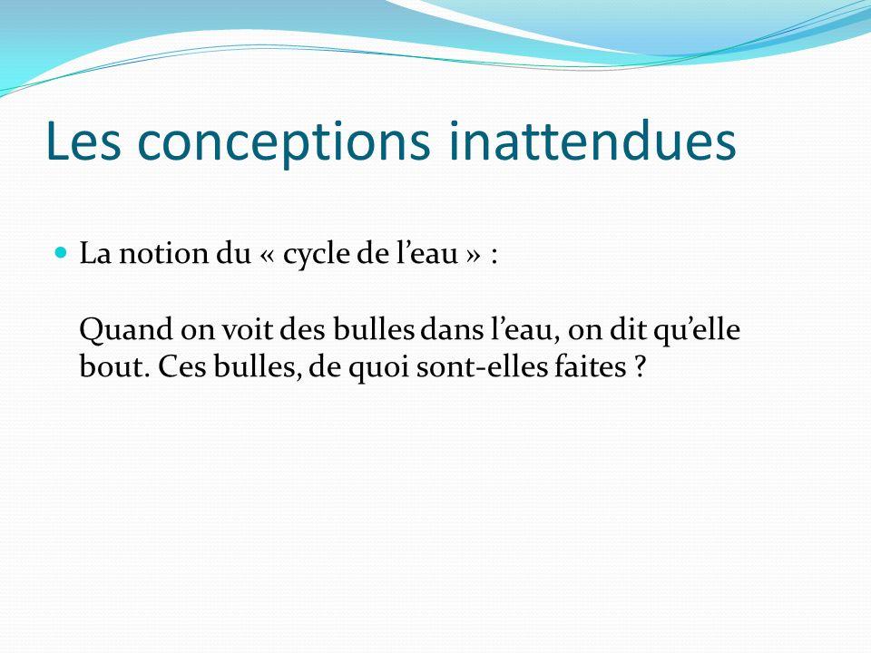 Les conceptions inattendues La notion du « cycle de leau » : Quand on voit des bulles dans leau, on dit quelle bout. Ces bulles, de quoi sont-elles fa