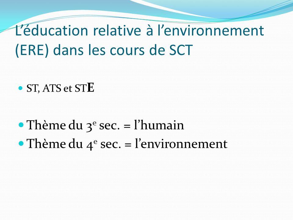 Léducation relative à lenvironnement (ERE) dans les cours de SCT ST, ATS et ST E Thème du 3 e sec. = lhumain Thème du 4 e sec. = lenvironnement