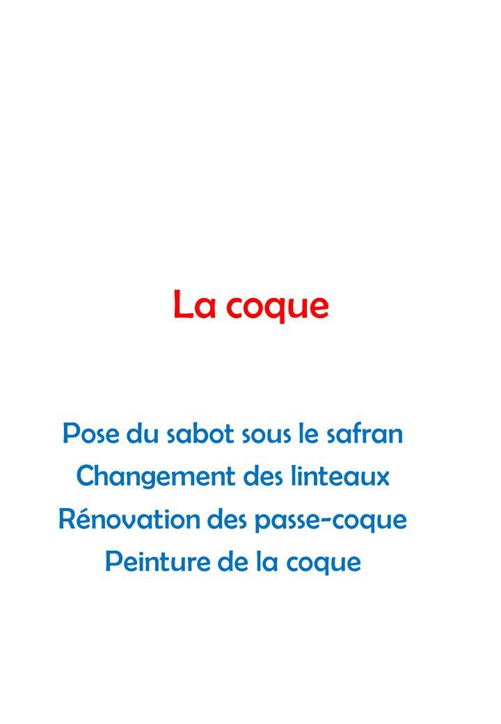 La coque Pose du sabot sous le safran Changement des linteaux Rénovation des passe-coque Peinture de la coque