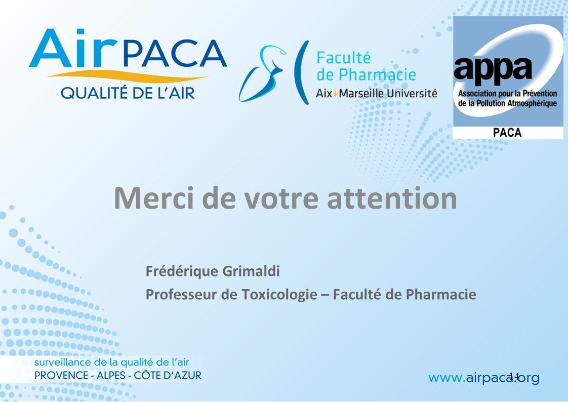Merci de votre attention Frédérique Grimaldi Professeur de Toxicologie – Faculté de Pharmacie 14