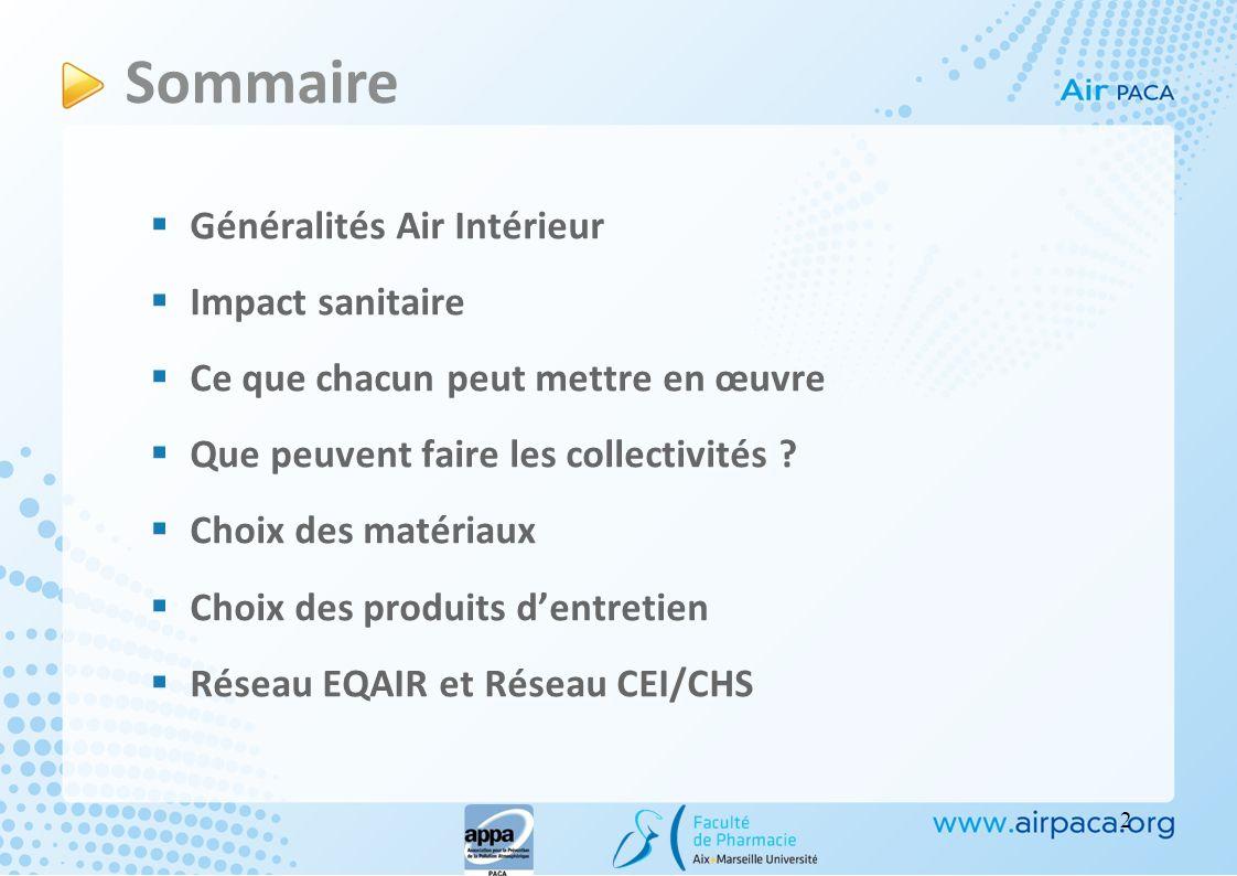 Généralités Air Intérieur Impact sanitaire Ce que chacun peut mettre en œuvre Que peuvent faire les collectivités ? Choix des matériaux Choix des prod