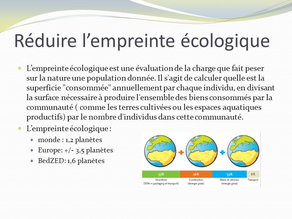 Lempreinte écologique est une évaluation de la charge que fait peser sur la nature une population donnée. Il s'agit de calculer quelle est la superfic