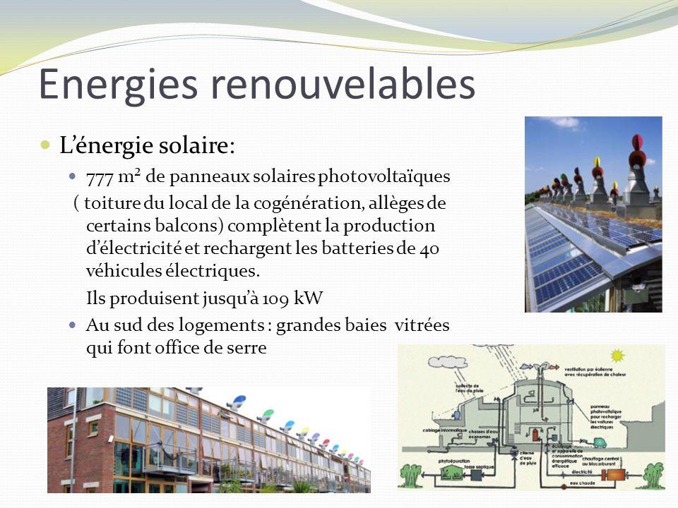 Energies renouvelables Lénergie solaire: 777 m² de panneaux solaires photovoltaïques ( toiture du local de la cogénération, allèges de certains balcon