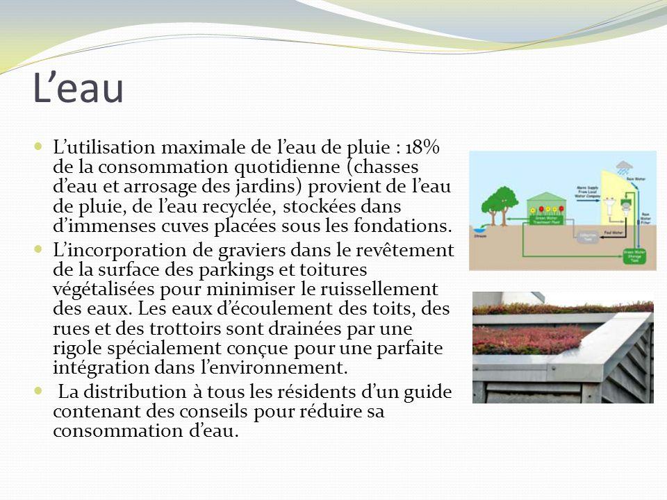 Leau Lutilisation maximale de leau de pluie : 18% de la consommation quotidienne (chasses deau et arrosage des jardins) provient de leau de pluie, de