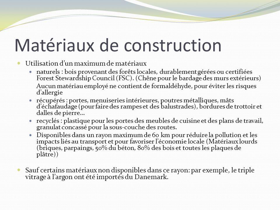 Matériaux de construction Utilisation dun maximum de matériaux naturels : bois provenant des forêts locales, durablement gérées ou certifiées Forest S