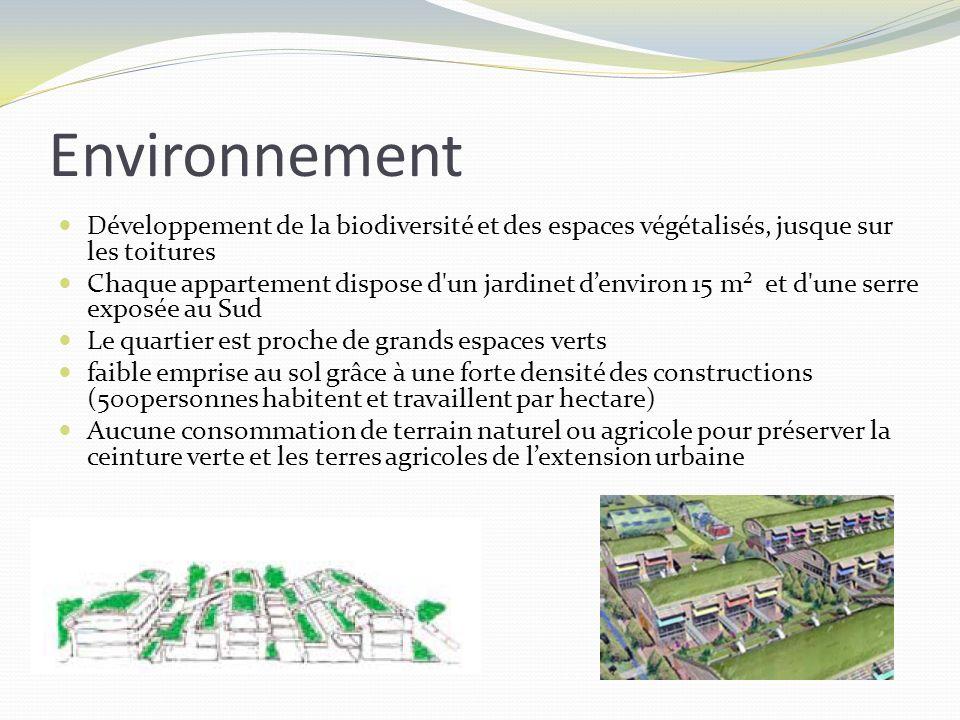 Environnement Développement de la biodiversité et des espaces végétalisés, jusque sur les toitures Chaque appartement dispose d'un jardinet denviron 1