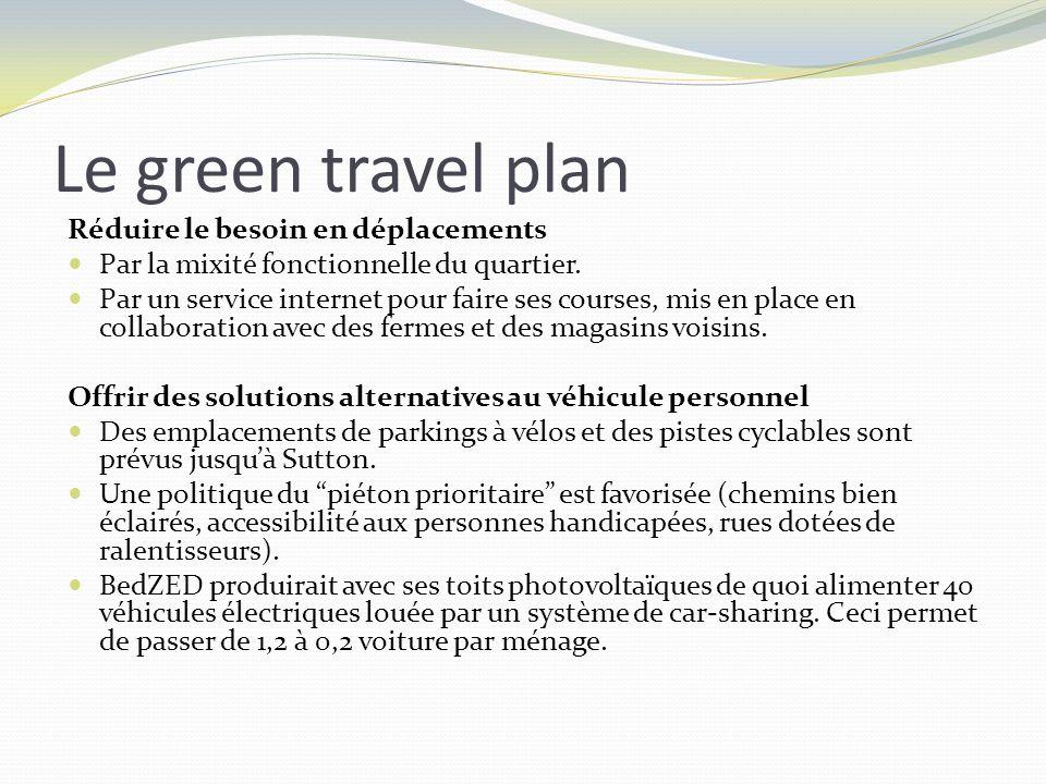 Le green travel plan Réduire le besoin en déplacements Par la mixité fonctionnelle du quartier. Par un service internet pour faire ses courses, mis en