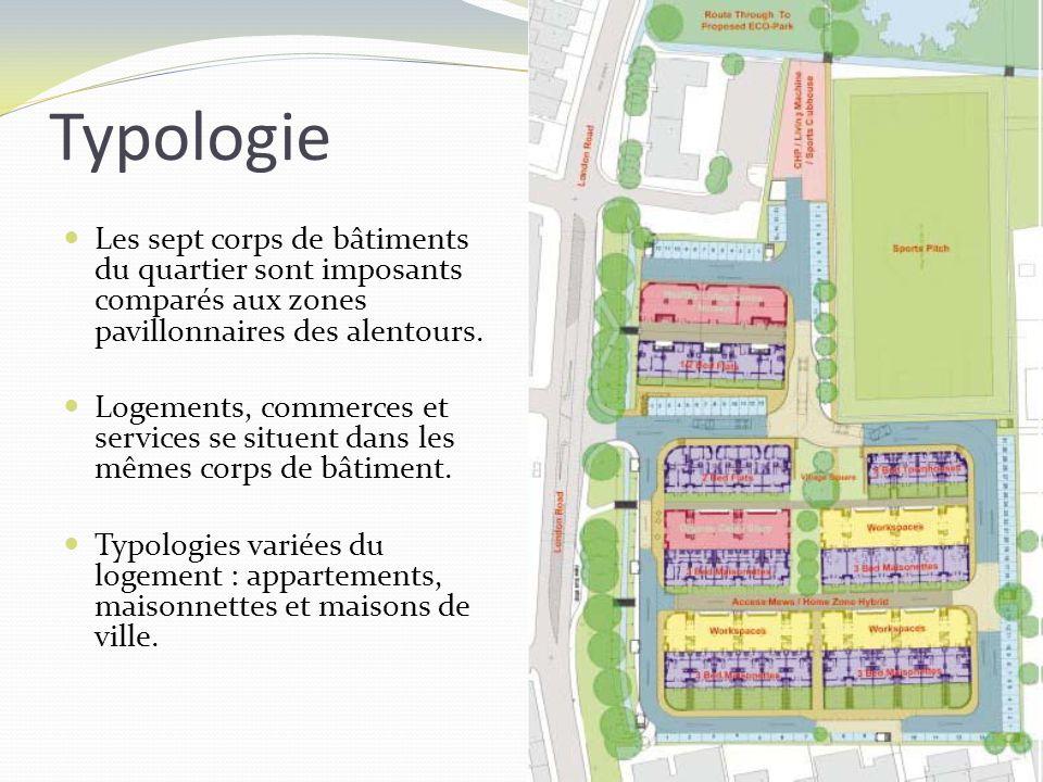 Typologie Les sept corps de bâtiments du quartier sont imposants comparés aux zones pavillonnaires des alentours. Logements, commerces et services se
