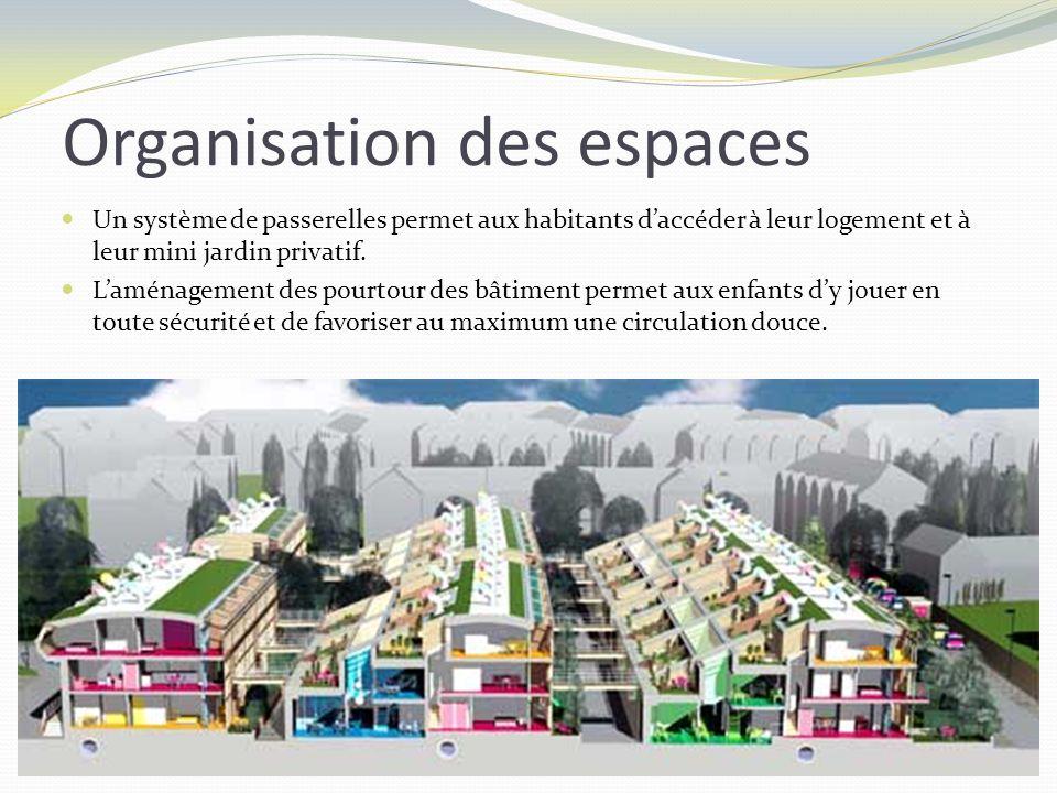 Un système de passerelles permet aux habitants daccéder à leur logement et à leur mini jardin privatif. Laménagement des pourtour des bâtiment permet