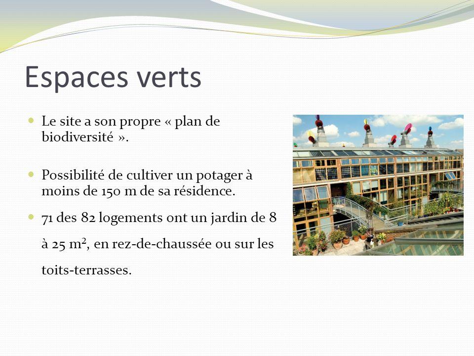 Le site a son propre « plan de biodiversité ». Possibilité de cultiver un potager à moins de 150 m de sa résidence. 71 des 82 logements ont un jardin