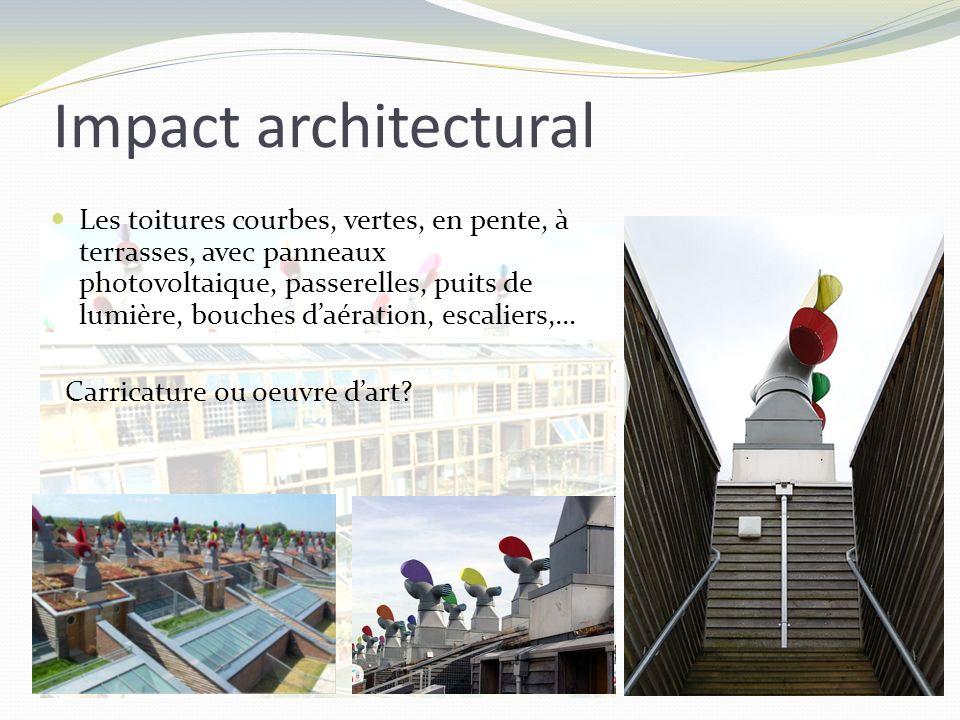 Les toitures courbes, vertes, en pente, à terrasses, avec panneaux photovoltaique, passerelles, puits de lumière, bouches daération, escaliers,… Carri