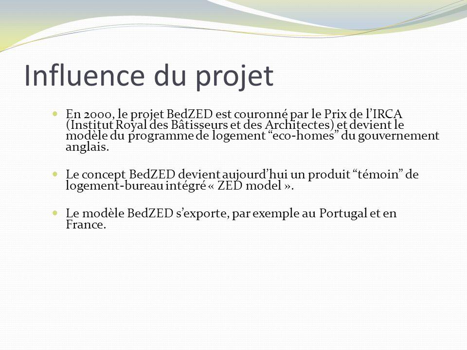 En 2000, le projet BedZED est couronné par le Prix de lIRCA (Institut Royal des Bâtisseurs et des Architectes) et devient le modèle du programme de lo