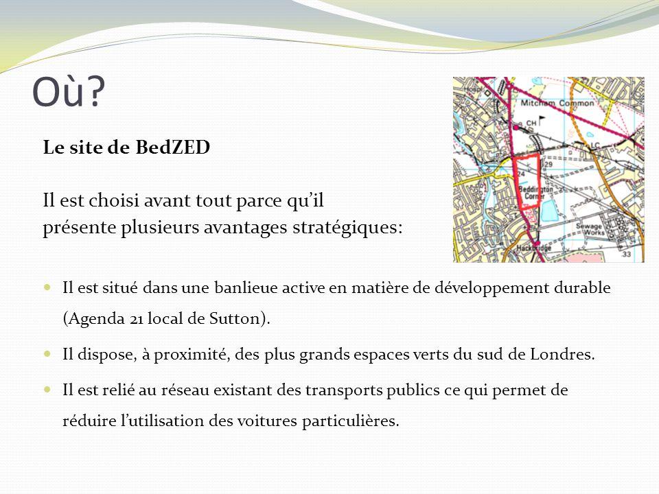 Le site de BedZED Il est choisi avant tout parce quil présente plusieurs avantages stratégiques: Il est situé dans une banlieue active en matière de d