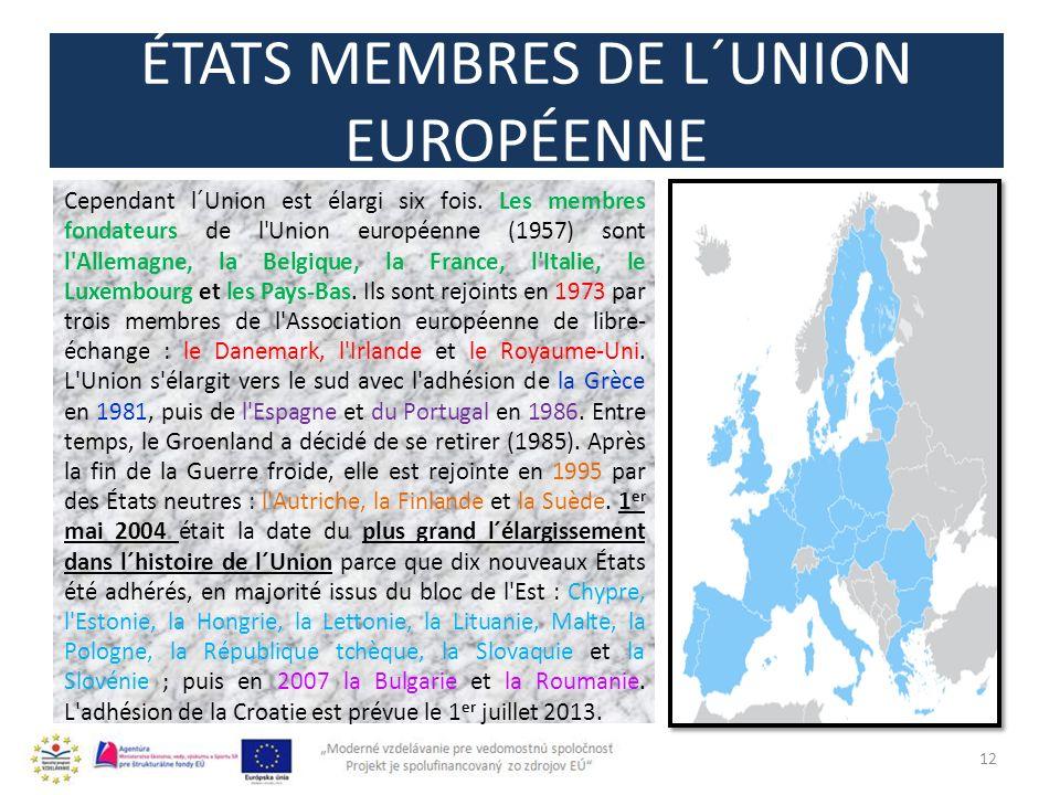 ÉTATS MEMBRES DE L´UNION EUROPÉENNE 12 Cependant l´Union est élargi six fois.