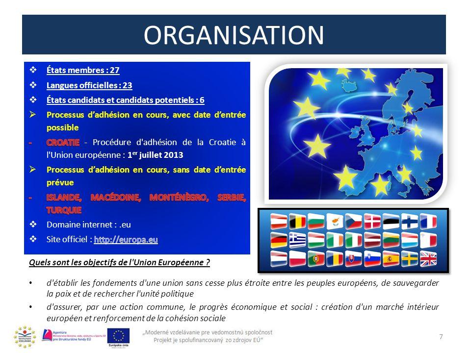 ORGANISATION 7 Quels sont les objectifs de l Union Européenne .