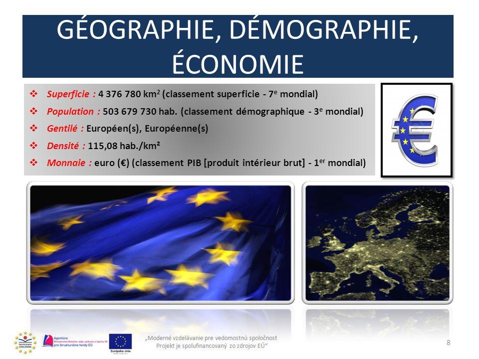GÉOGRAPHIE, DÉMOGRAPHIE, ÉCONOMIE 8 Superficie : 4 376 780 km 2 (classement superficie - 7 e mondial) Population : 503 679 730 hab.