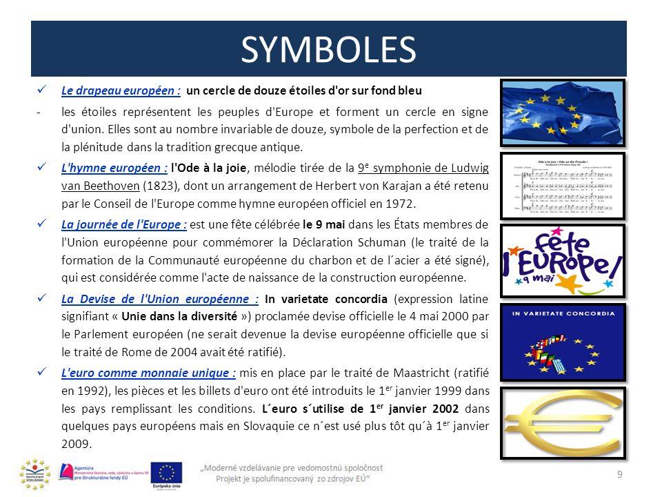 SYMBOLES 9 Le drapeau européen : un cercle de douze étoiles d or sur fond bleu -les étoiles représentent les peuples d Europe et forment un cercle en signe d union.