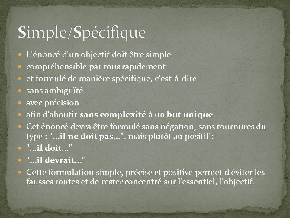 L énoncé d un objectif doit être simple compréhensible par tous rapidement et formulé de manière spécifique, c est-à-dire sans ambiguïté avec précision afin d aboutir sans complexité à un but unique.