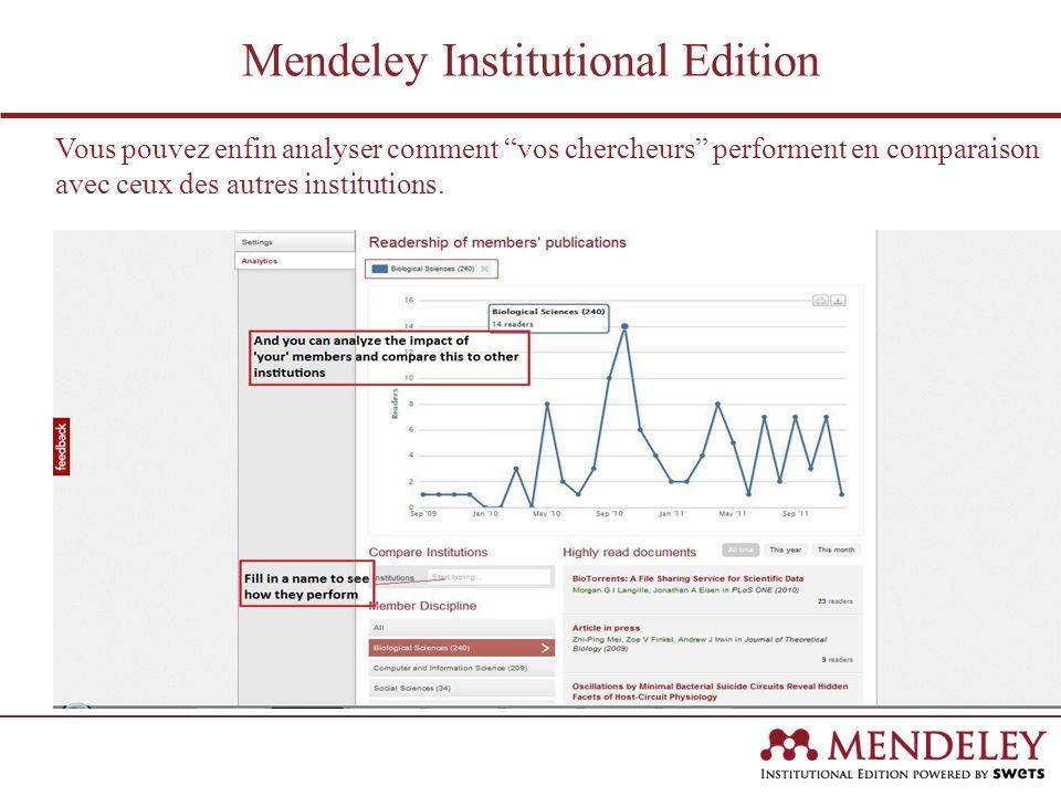Vous pouvez enfin analyser comment vos chercheurs performent en comparaison avec ceux des autres institutions. Mendeley Institutional Edition