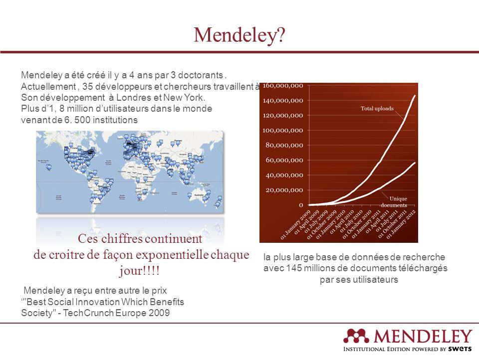 Mendeley? Mendeley a été créé il y a 4 ans par 3 doctorants. Actuellement, 35 développeurs et chercheurs travaillent à Son développement à Londres et