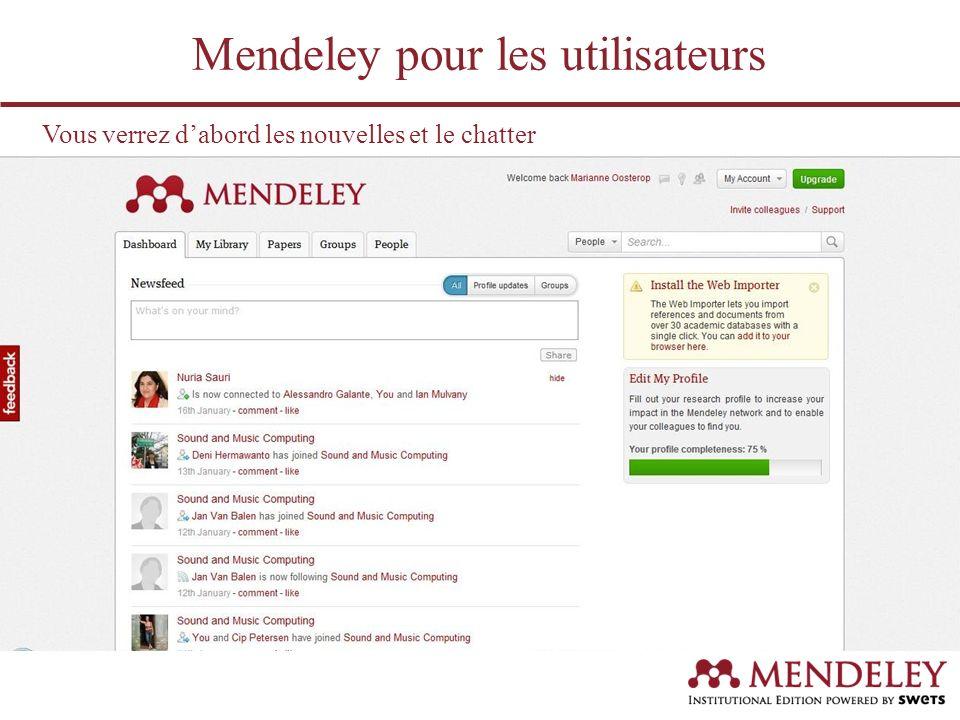 Vous verrez dabord les nouvelles et le chatter Mendeley pour les utilisateurs