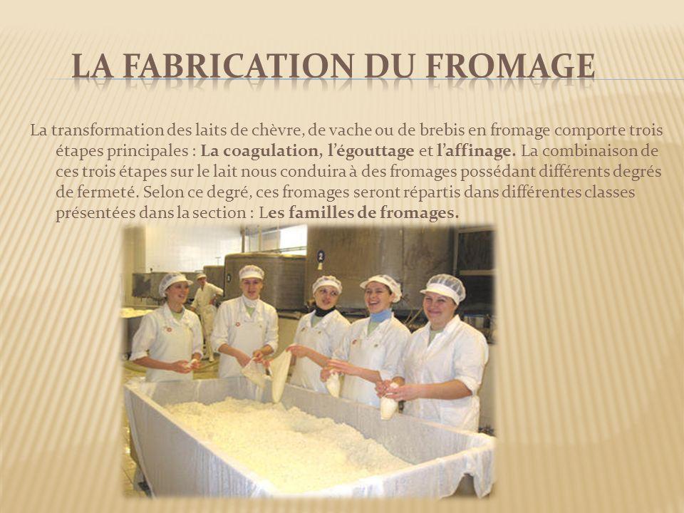 La transformation des laits de chèvre, de vache ou de brebis en fromage comporte trois étapes principales : La coagulation, légouttage et laffinage. L