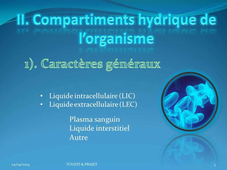 24/09/2013TOUATI & PRAJET5 Plasma sanguin Liquide interstitiel Autre